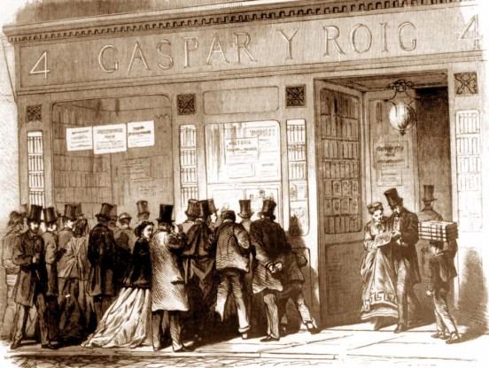 """Las imágenes impresas tuvieron un atractivo para la sociedad del siglo XIX comparable al que hoy tienen nuestros medios de comunicación visual. """"Escaparate de la empresa Gaspar y Roig cuando se expone """"El Museo Universal"""". Publicado el 6-I-1867."""