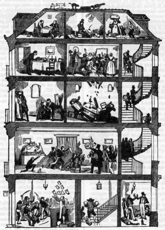 """""""Los cinco pisos de una casa de Madrid en la noche de Navidad"""".En: """"Semanario Pintoresco Español"""" 1847"""