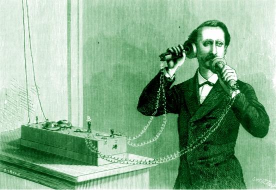 Una imagen mostrando el teléfono de Grahan Bell en la admisnitración telegráfica de París