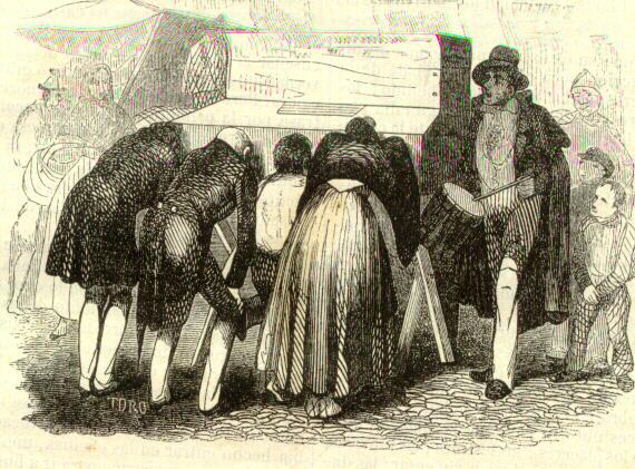 El espectáculo óptico del Mundonuevo en Madrid en un grabado de 1851