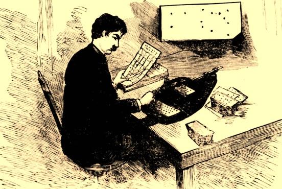 """Empadronamiento eléctrico en los Estados Unidos. """"El Telegrafista Español"""" Madrid 1890. Páginas 491-495."""