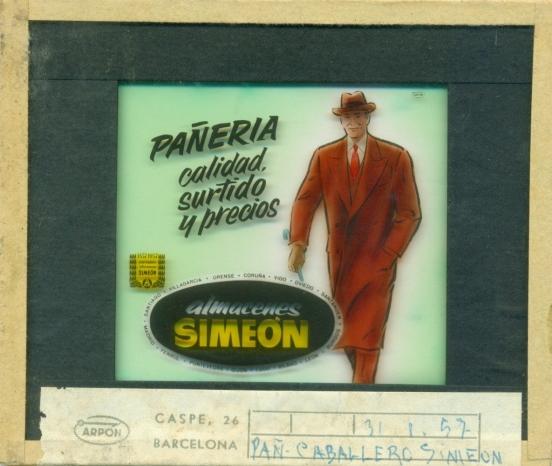 Anuncio publicitario de Almacenes Simeon proyectada en los cines en el descanso de las películas en 1957.