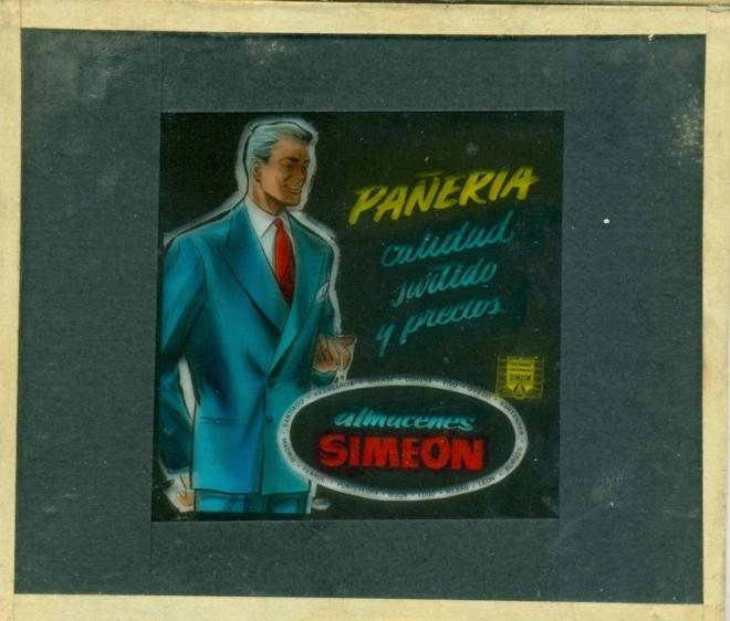 Anuncio publicitario de Almacenes Simeon proyectada en los cines en el descanso de las películas en 1957. Colección Bernardo Riego