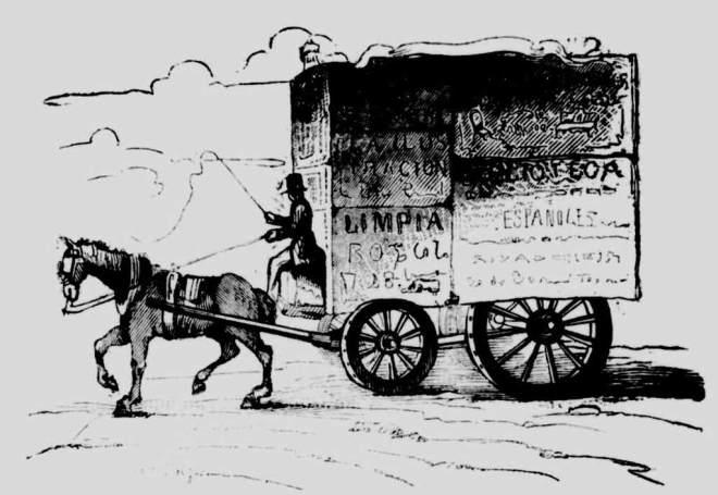 """Carro con anuncios que comenzó a desplazarse por las calles de Madrid en 1851 según una información publicada ese año en las páginas de """"La Ilustración"""""""