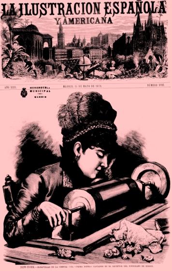 Primera imagen publicada en España del fonógrafo o