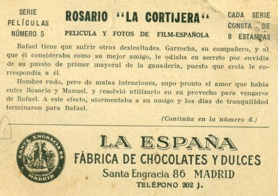 Cromo 2 Rosario la Cortijera (Reverso) (1935)