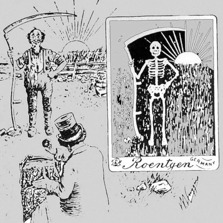 """""""Retrato a los Rayos-X"""" una caricatura publoicada en 1896."""