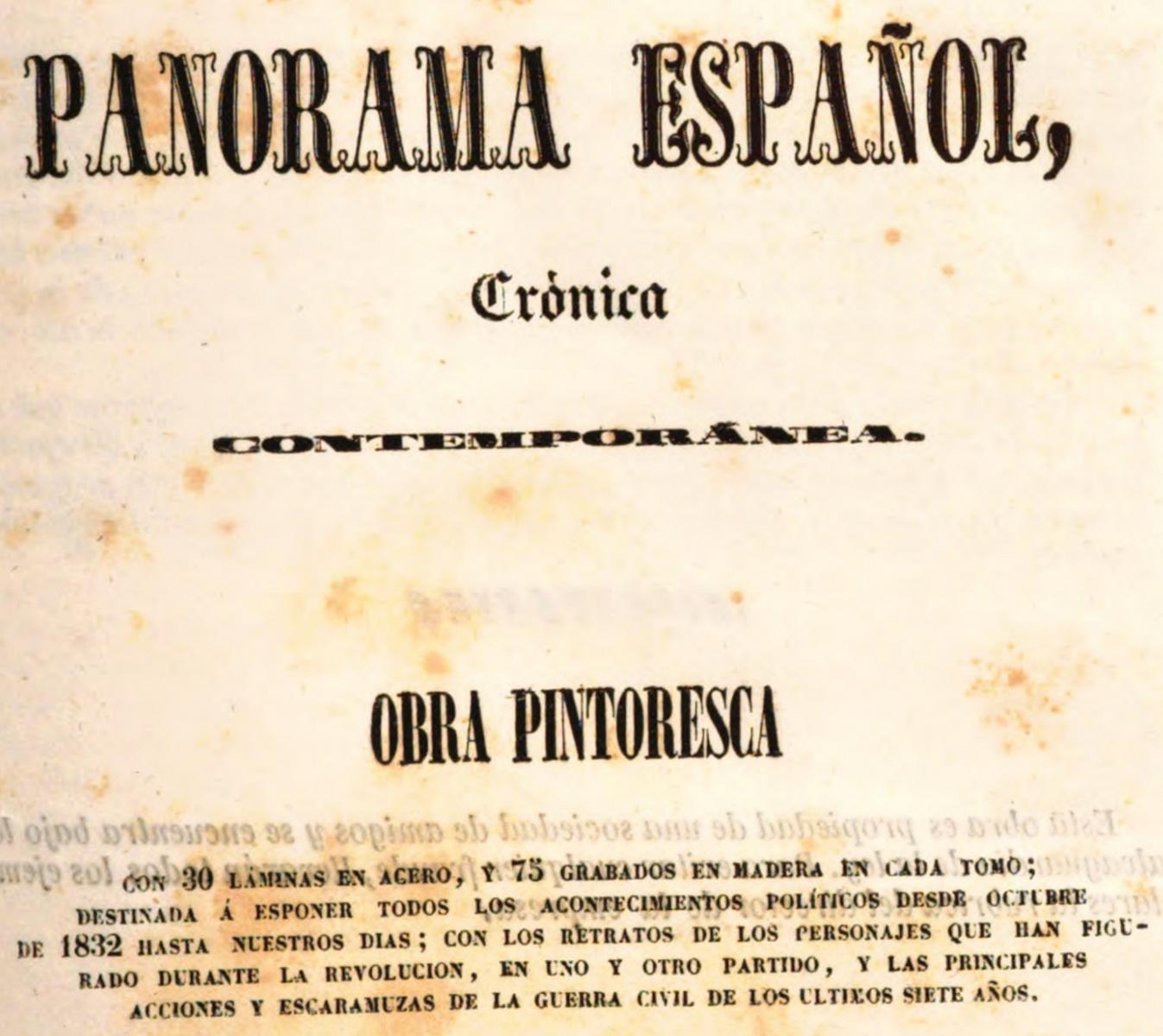 """Cabecera del """"Panorma Español"""" 1842"""
